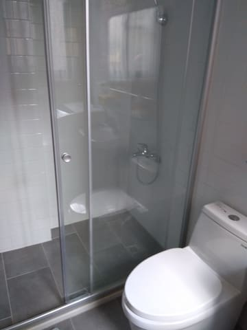 Bathroom is shared in the 1st floor. Shampoo, gel, towels and hairdryer are provided. For environmental reasons, disposable amenities are not available (one-time slippers, toothbrushes etc).