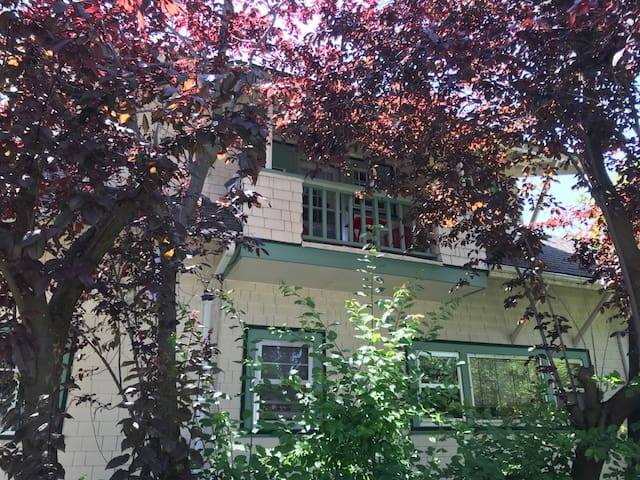 Be intrigued!  #3's cleverly used space was cozy for returning WWII soldiers and is just waiting for you!  ⭐️discount if you are a returning guest.  Be sure to check with us! That's your balcony.... Enjoy the solitude!