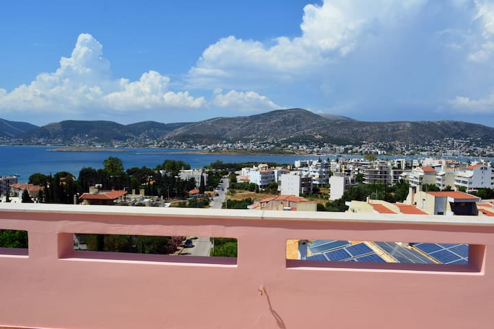 Pink House with panoramic view to Porto Rafti