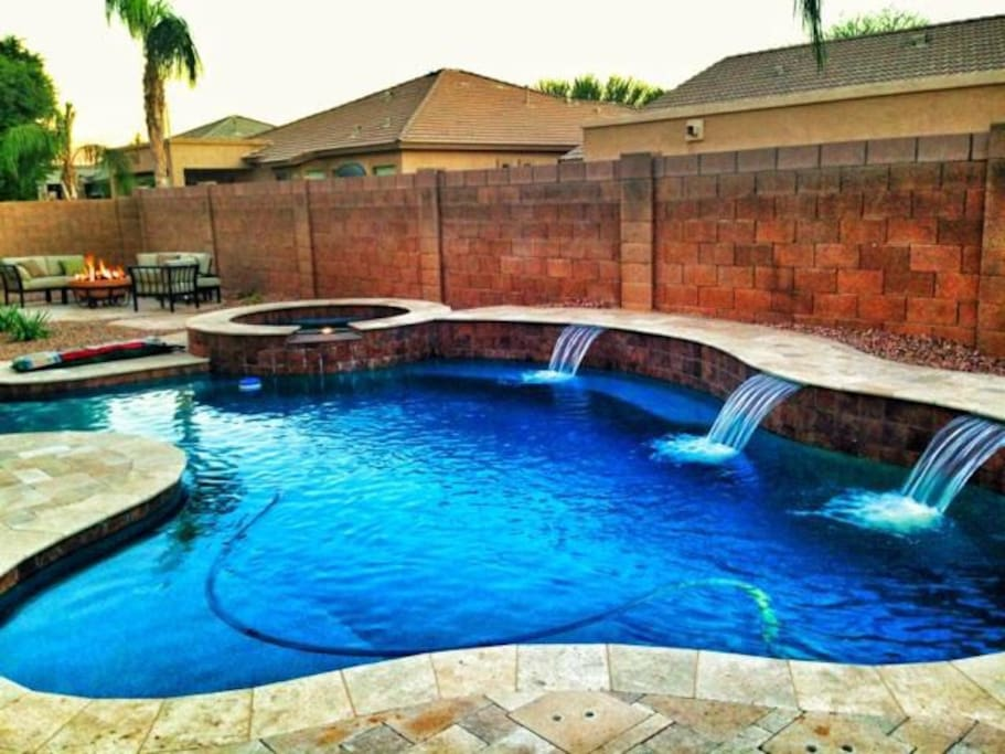 Day or night, summer or winter, take a dip in the pool or jacuzzi.