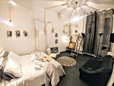 B&W room with private bathroom