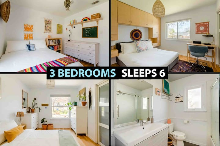 3 Bedrooms (1 King, 2 Queens) and a Full Bathroom so we can host 6 people very comfortably!  ★We have over 2,000 Airbnb Reviews - Book w/ Confidence★