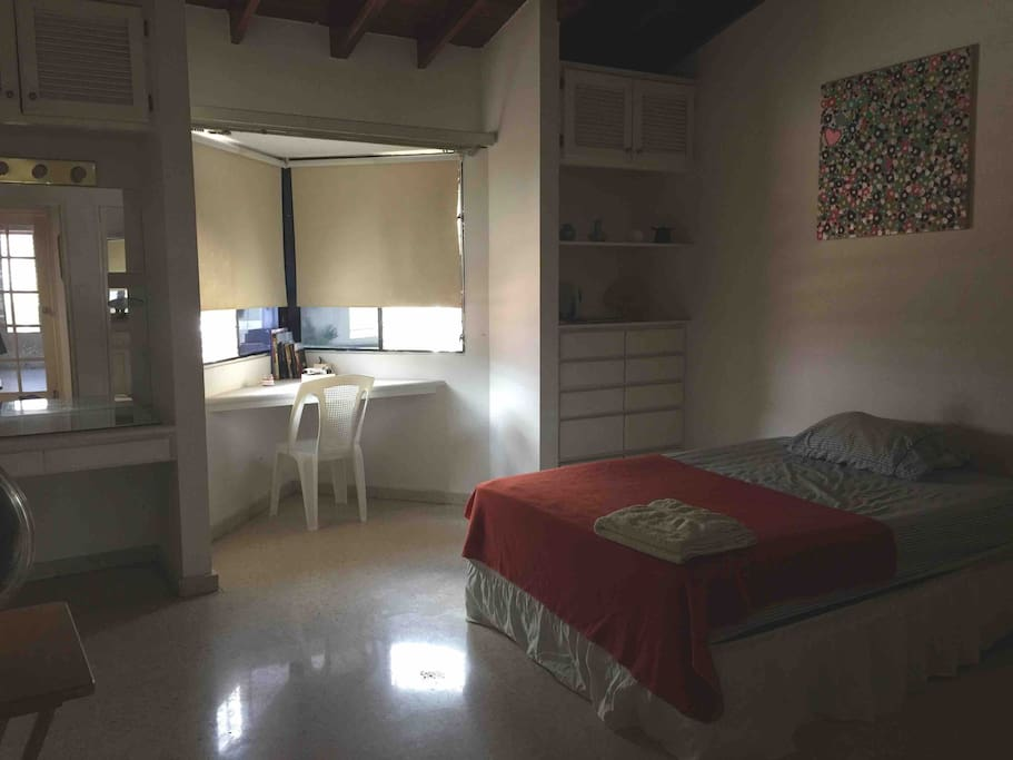 Huge room with own bathroom with bathtub, also desk, chest of drawers, big closet and lots of space and privacy!