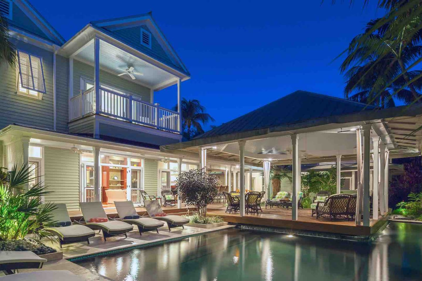 Private Key West beach estate pool and pavilion patio