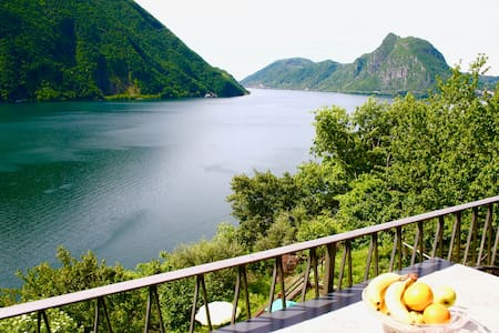 Lake view with garden 5 min from Lugano