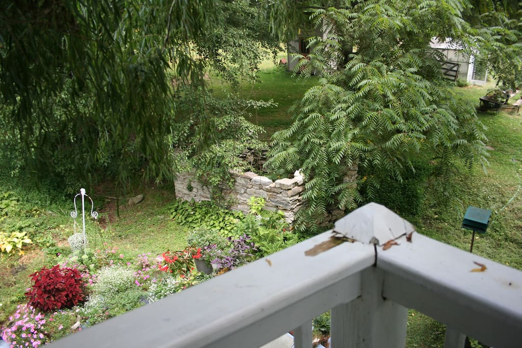 The old springhouse  remains seen from the balcony of the Yellow Room