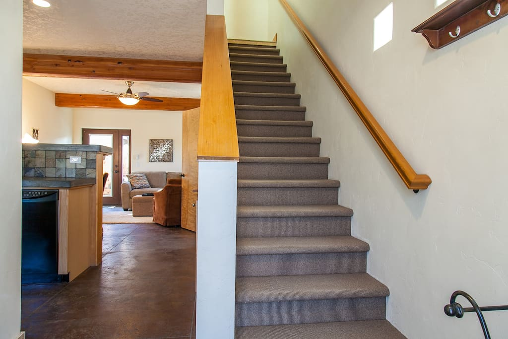 This sweet and charming home features living downstairs and both bedrooms upstairs.