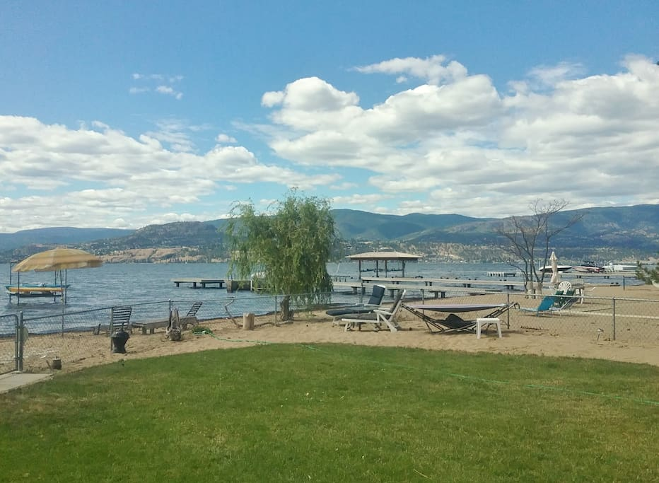 Backyard beach and lake view