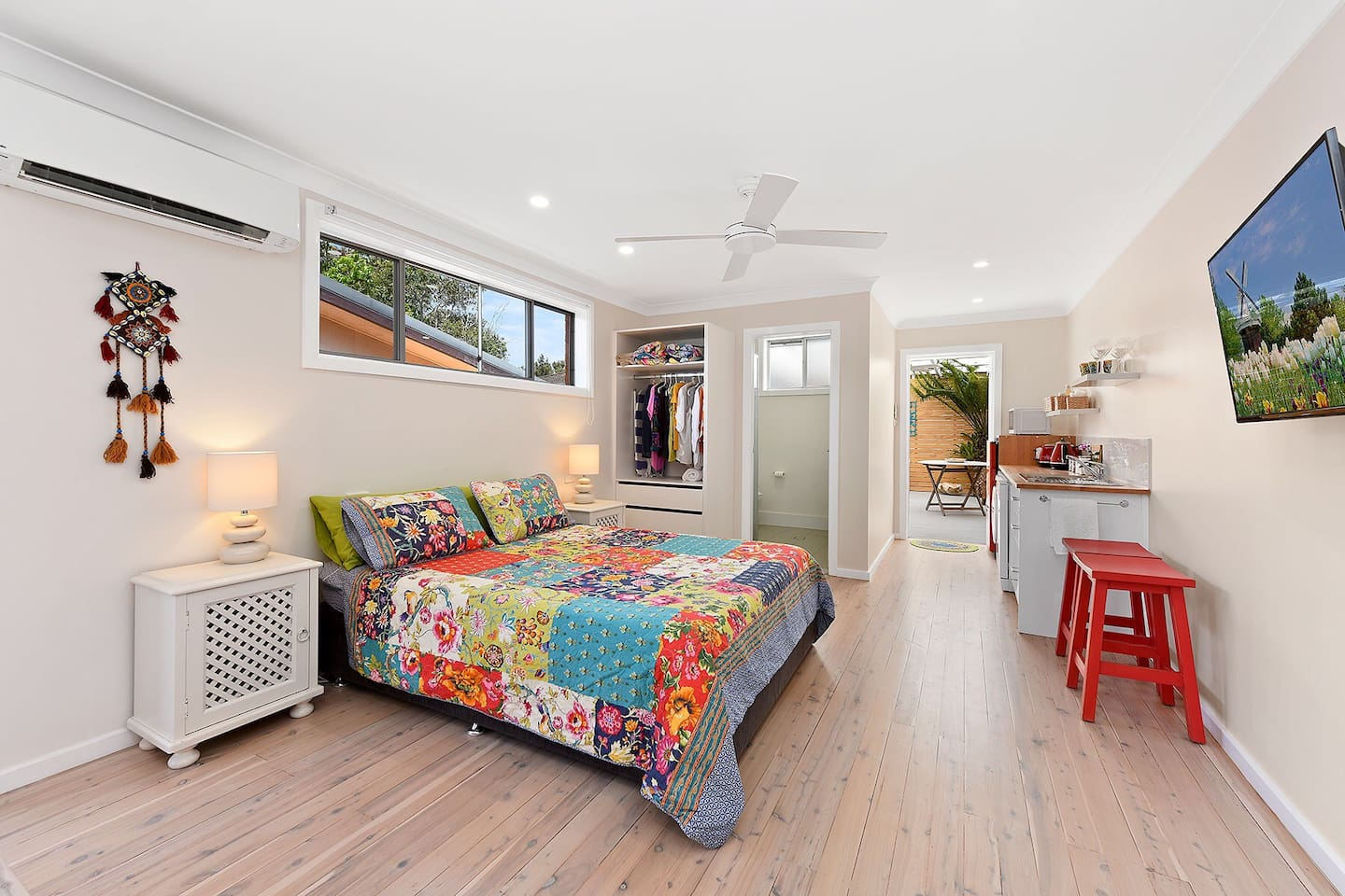 This lovely studio room has just been renovated so everything is new. It is bright and airy with a fan plus air conditioner if you feel that you need it.