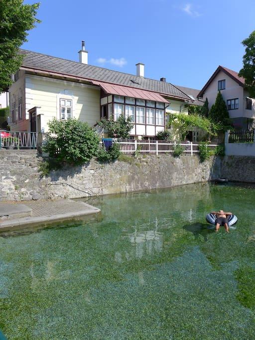 Haus mit Schwimmteich.