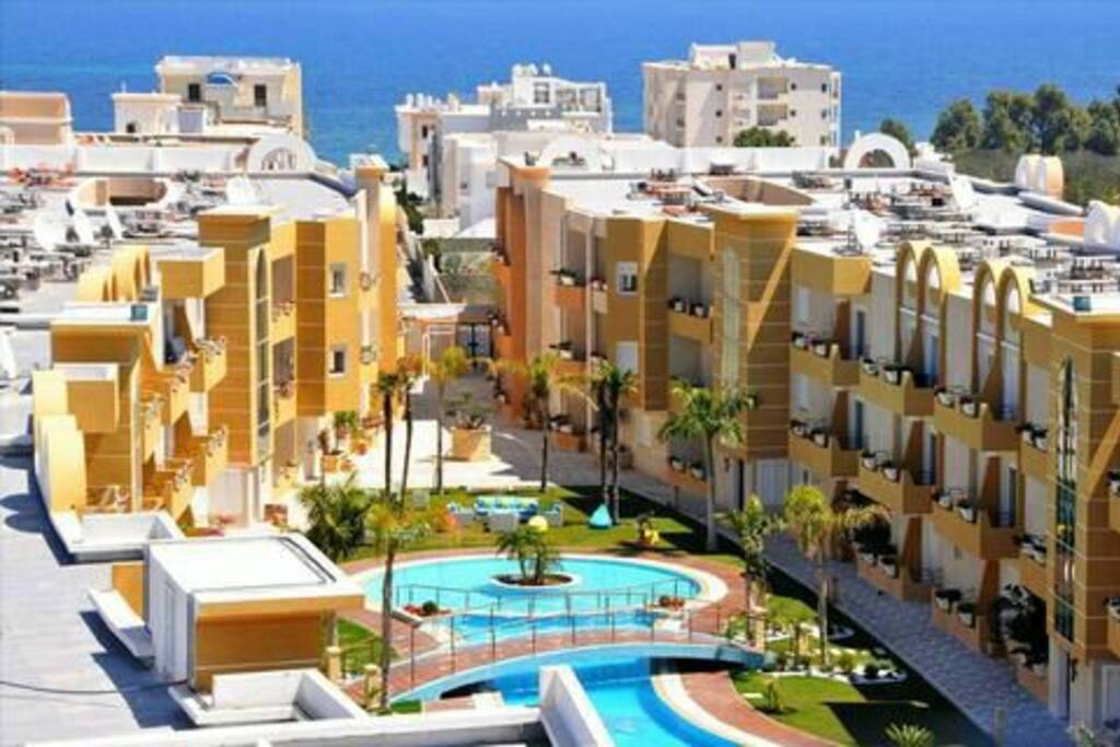 The apartments and the Mediterranean Sea in the rear about 200 mtrs away towards the beach