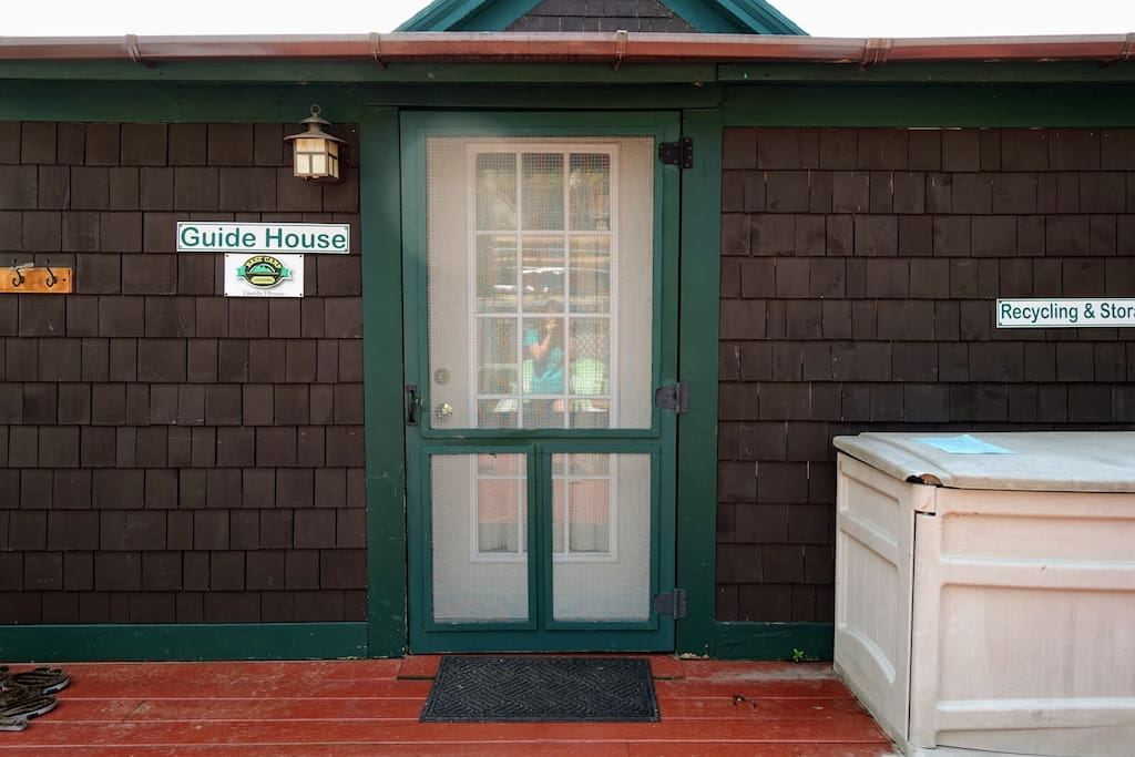 Welcome!   Front door off the big deck shared with the High Peaks House.