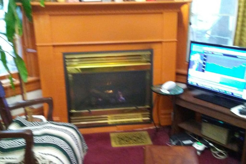 Fireplace,Chair & foot stool