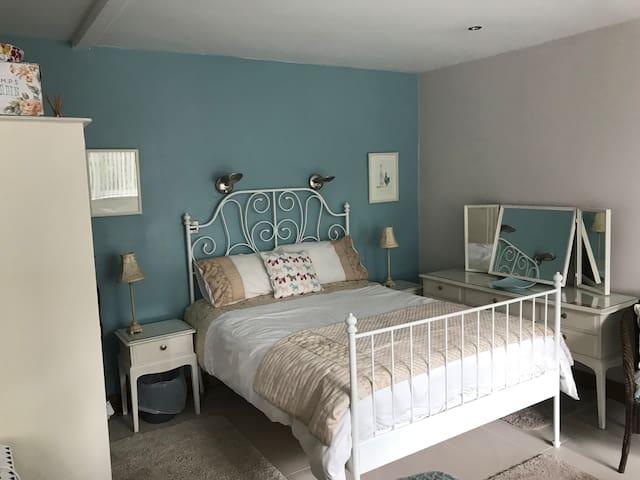 Comfortable double bed area.