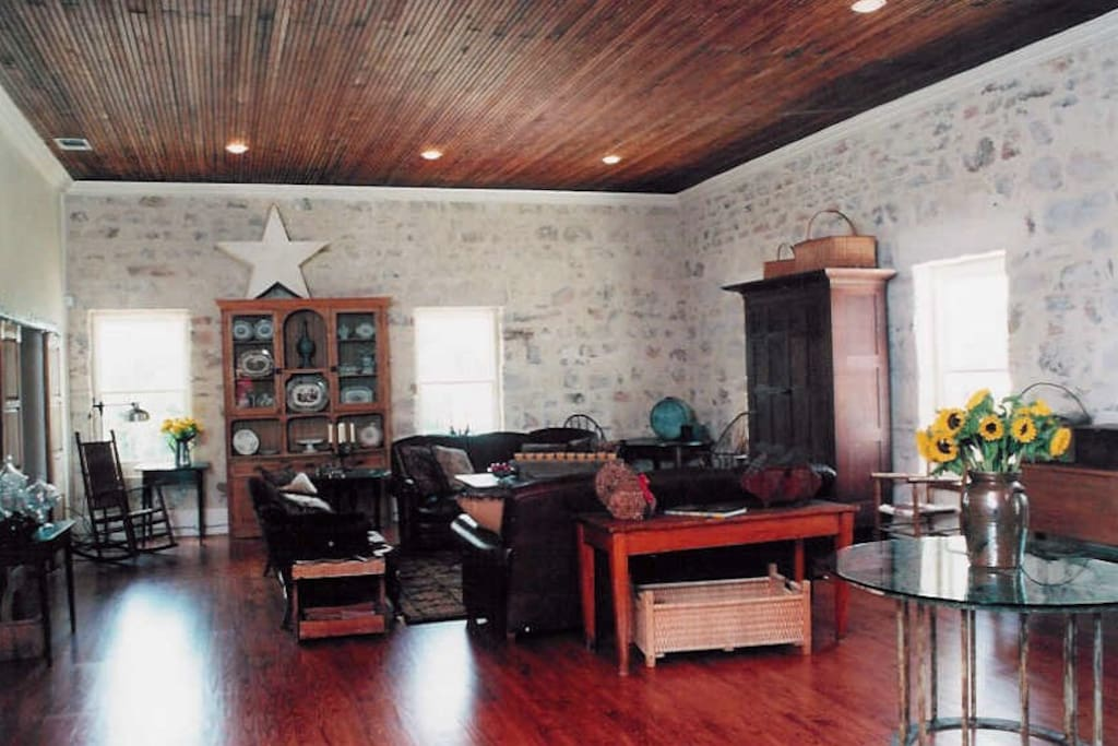 """Completely restored with orginal 24"""" limestone walls and original beaded board ceilings"""