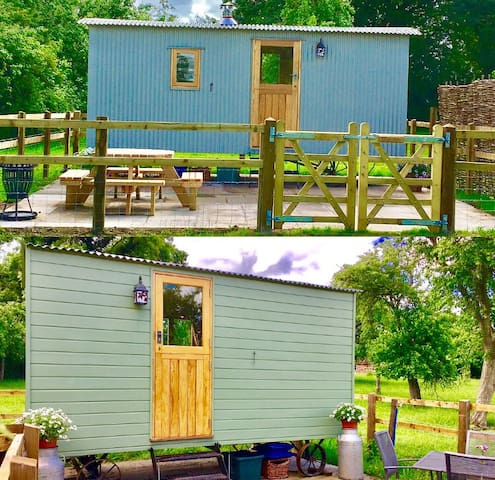 2 Shepherd Huts - Step up from camping