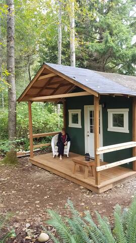 Newly covered deck entrance adds outdoor relaxing space