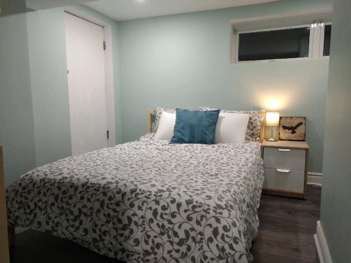 Cozy modern basement room in Century home