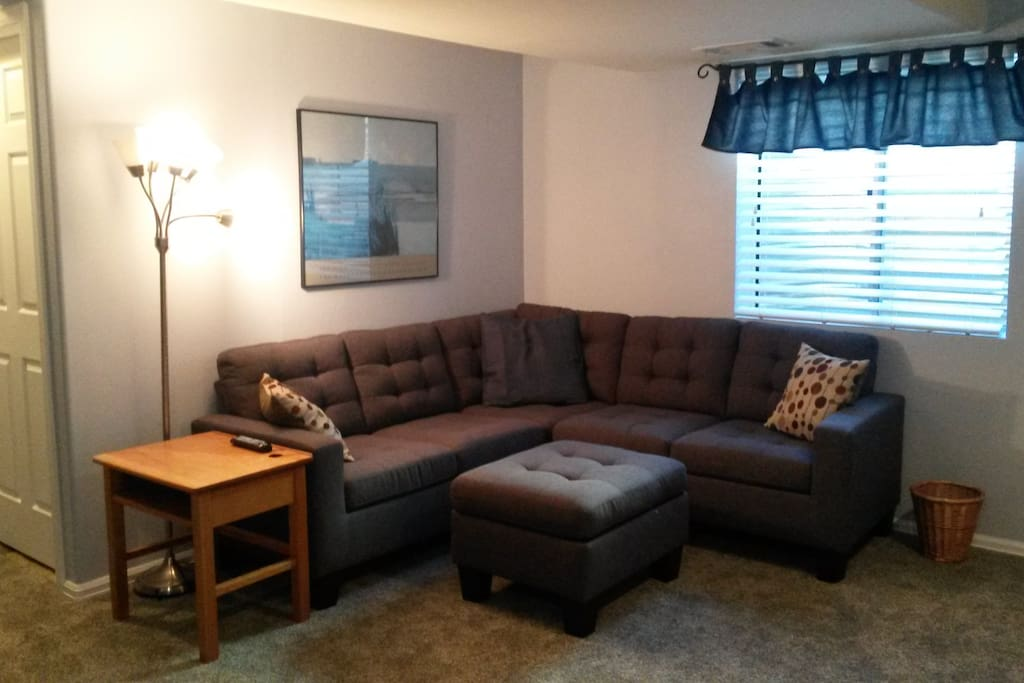 New comfortable couch in private living room area of suite.  Will sleep a child or small adult.