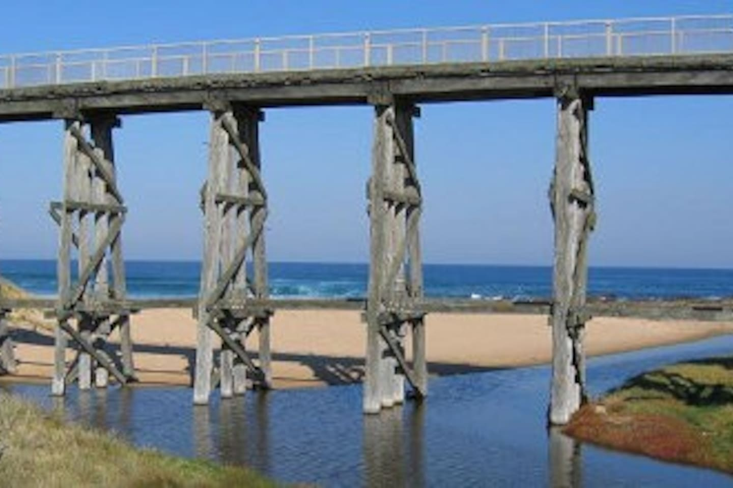 The Viaduct Kilcunda Beach a 5 minute walk from Earth n Sea Kilcunda featuring the beautiful historic railway bridge which is now a lovely walking track which epic views alone the pristine coastline and a world class surf break