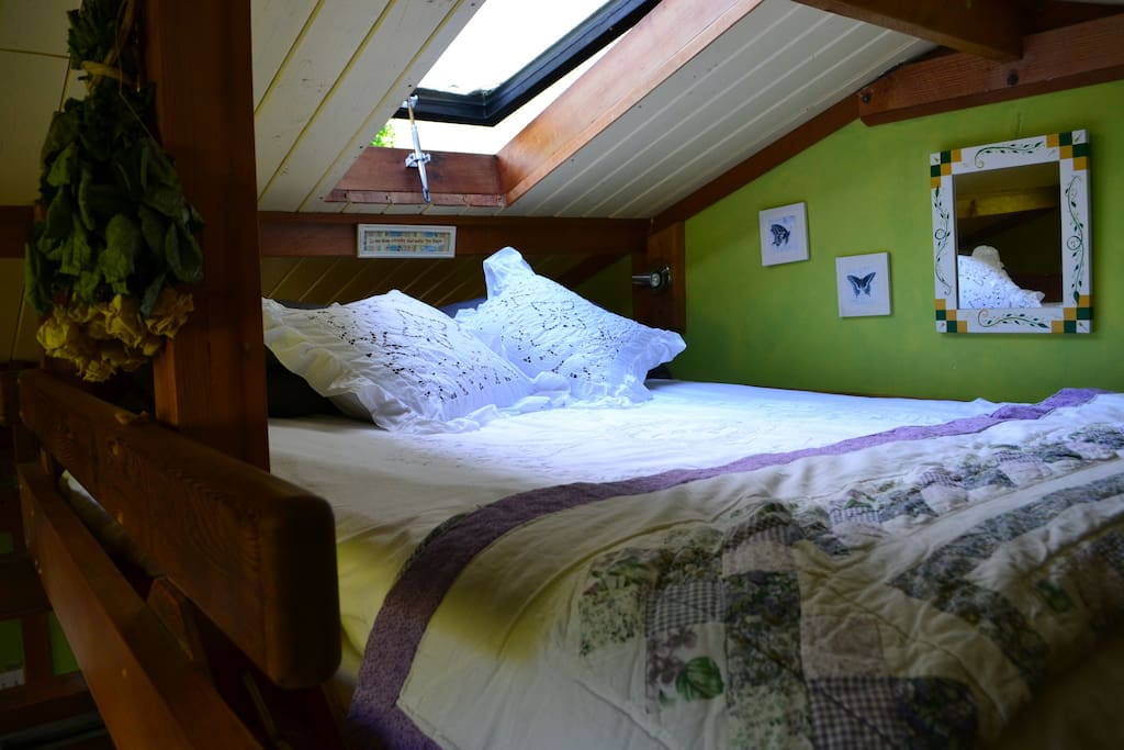 Stargaze under the comforts of country quilts in our loft queen bed.