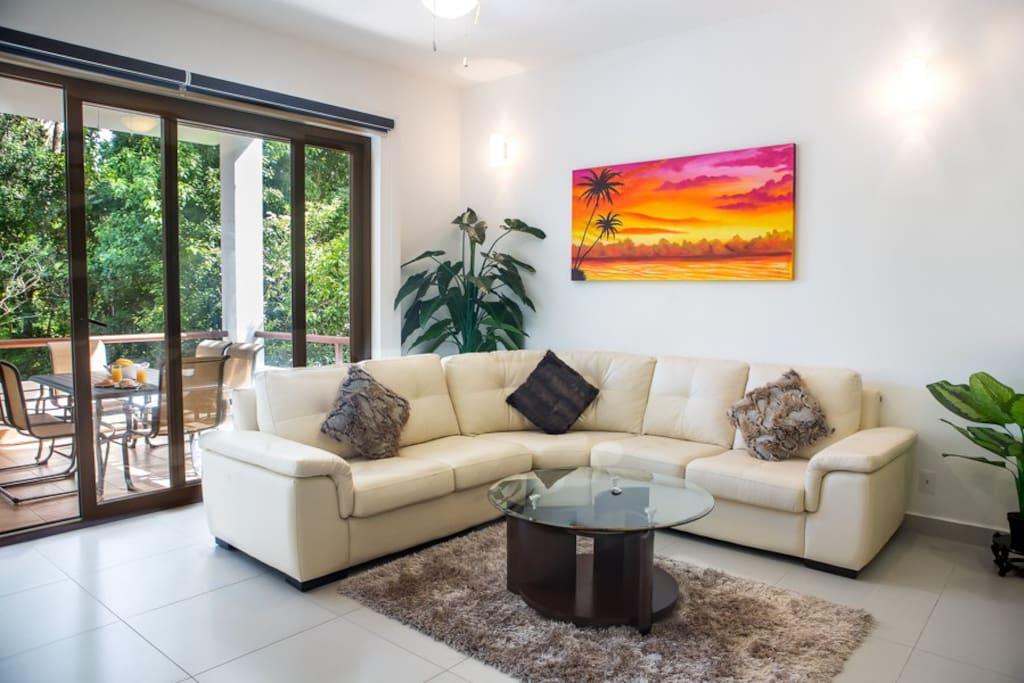 Spacious living room and balcony