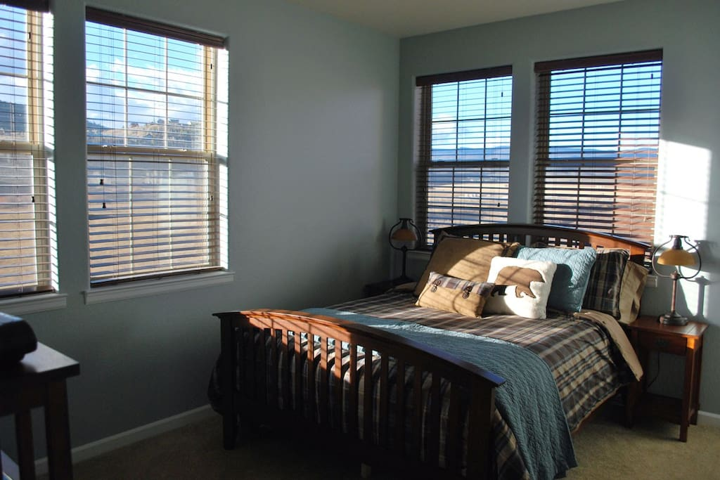 Master bedroom with queen bed, walk-in closet, sunshine and view of conservation meadow.