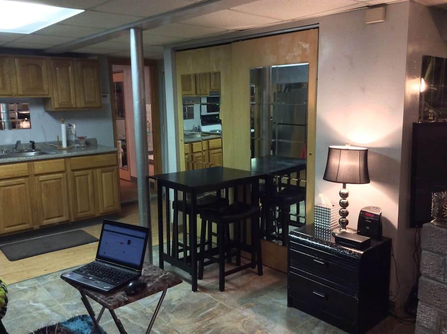 The dining/ living room area porcelain tile floor