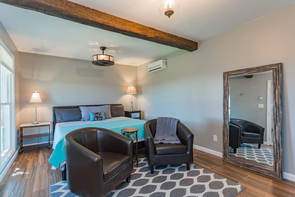 Updated amenities with bamboo sheets, a large tiled shower, granite and soft fluffy towels.