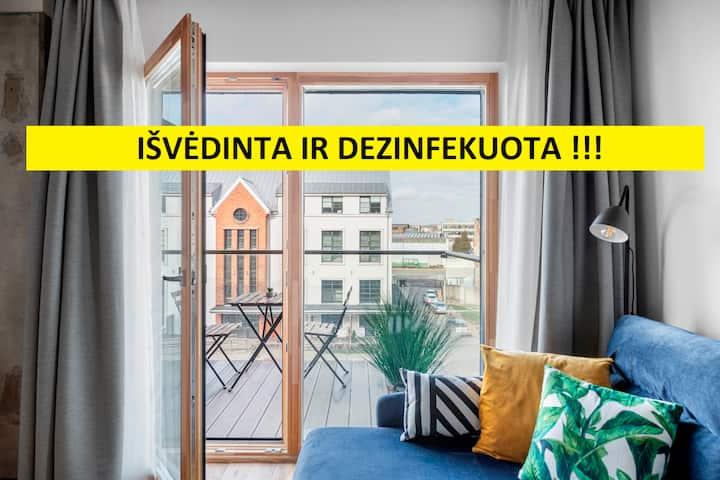 5-viečiai apartamentai su balkonu prie Ž. Arenos