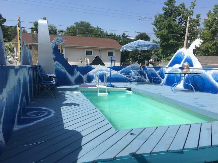 Unique Home w/Private Pool, projector & Speakeasy!