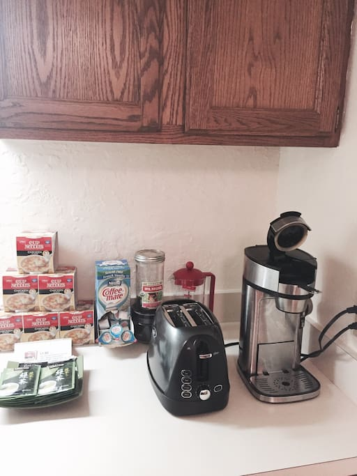 Toaster, coffee maker with organic local coffee.