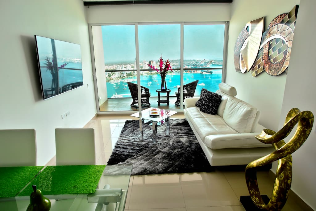 Living room with a view of the bay