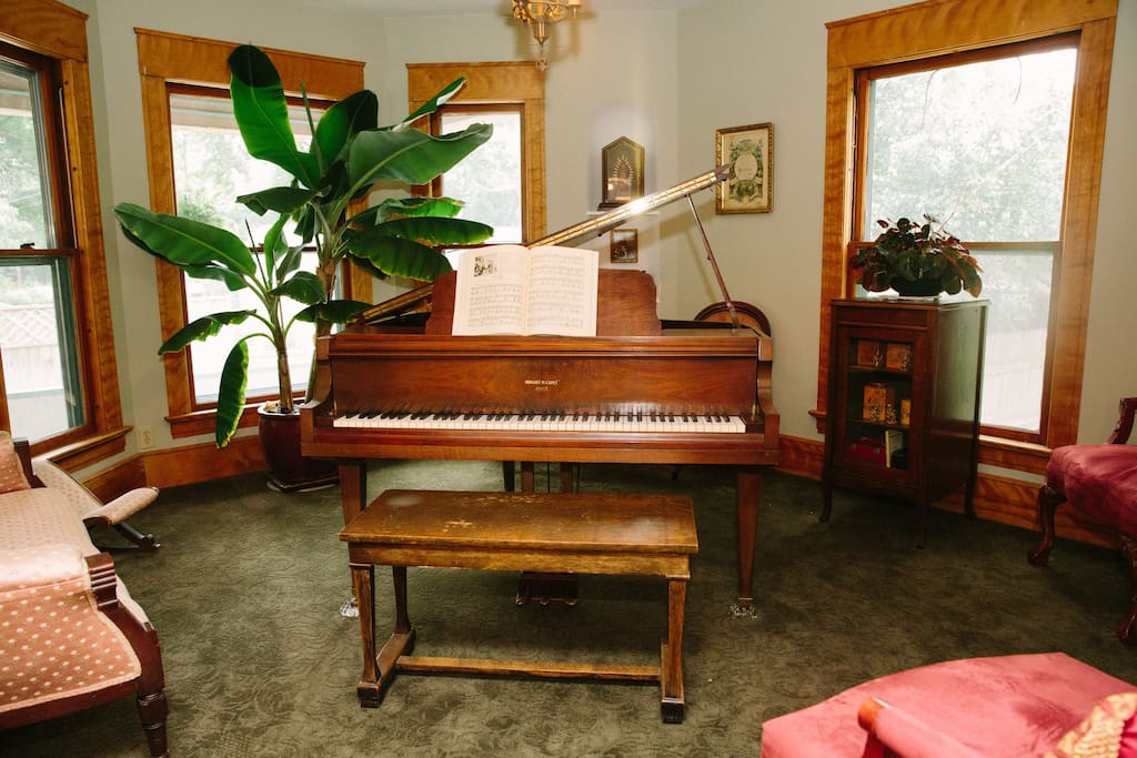 The music room contains a 1936 Hobart Cable baby grand