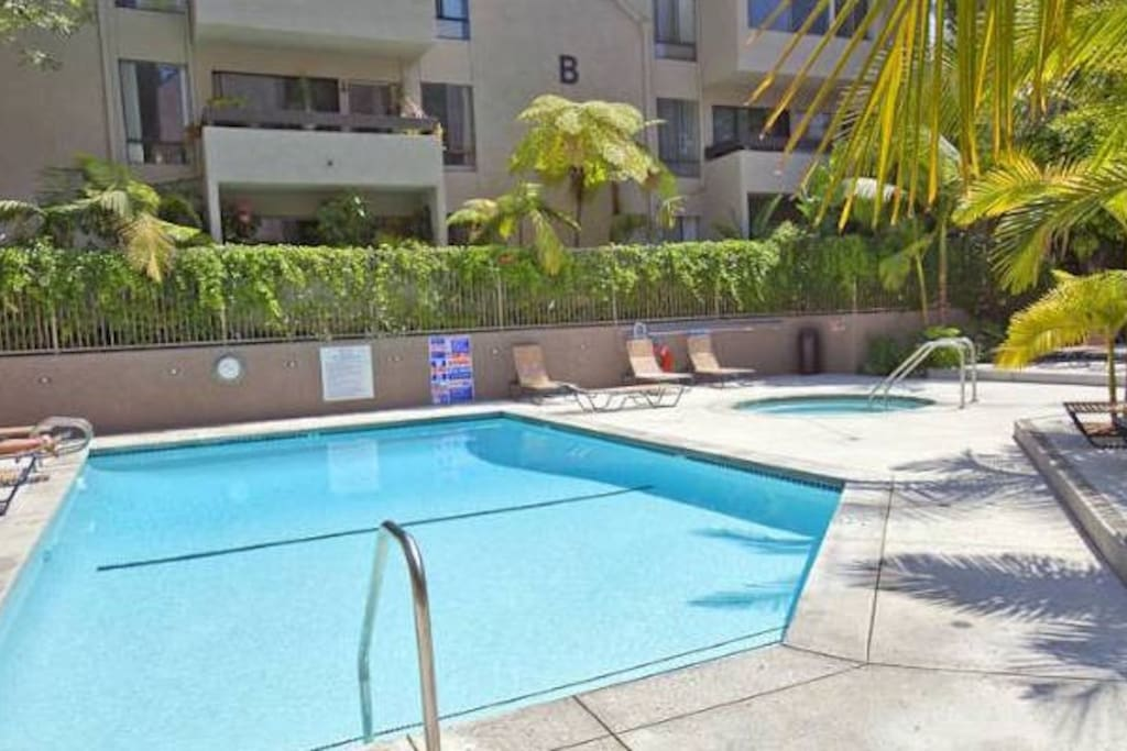 Pool and hot tub available for residents.