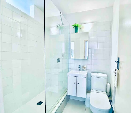 Bathroom with vanity cabinet, toilet and shower. Shampoo and soap is supplied complimentarily.