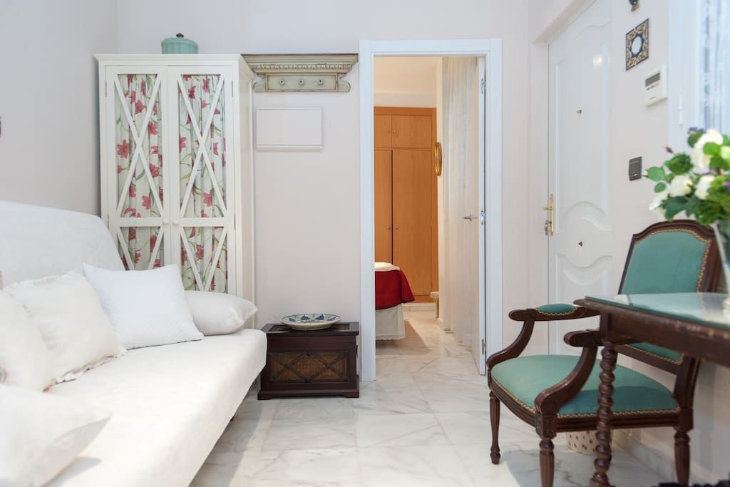 Zona con sofá cama de 140×1:90. Al fondo está el dormitorio