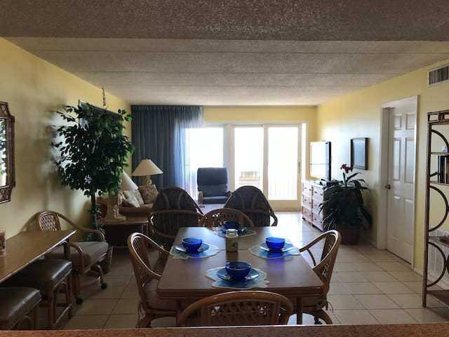 View of ocean from Kitchen, Dining, and Living Room