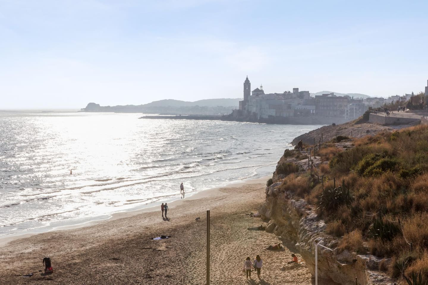 View from the Sea-view room on Balmins Beach and the church of Sitges