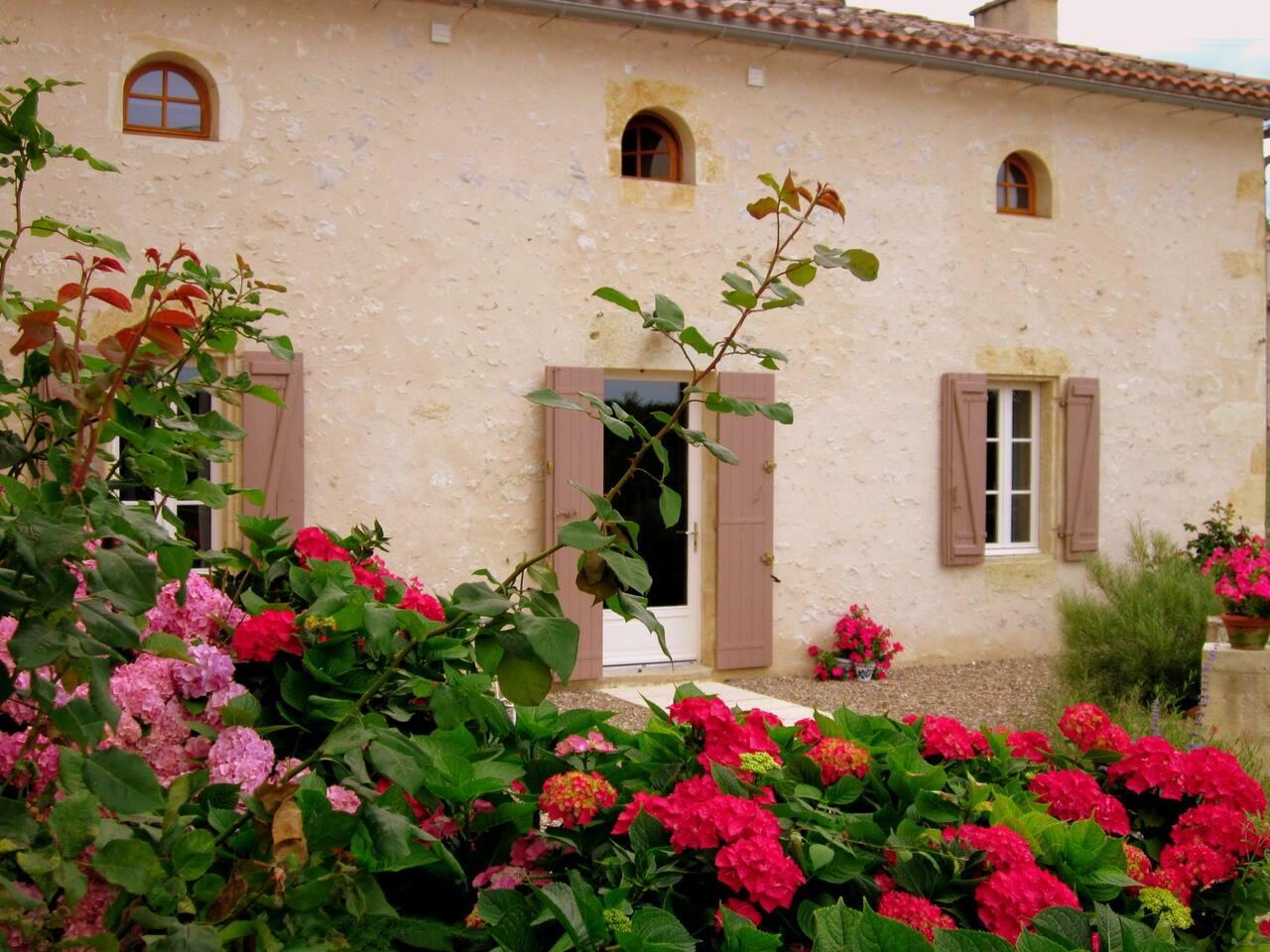 The flower filled front court yard garden