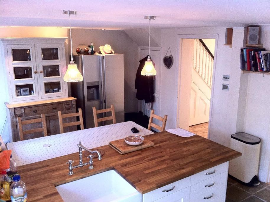 Open plan kitchen with double Rangemaster oven