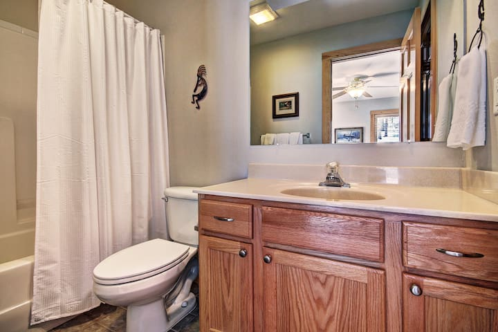Main level bathroom for the queen bedroom with shower/tub combo.
