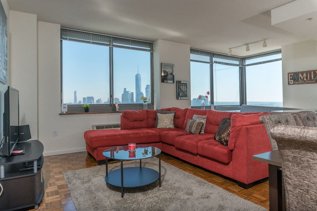 Living Area with Mind blowing views of Freedom Tower &Manhattan Skyline views