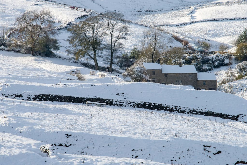 Moorhouse Cottage in the snow. The End Place is on the right - at the end!