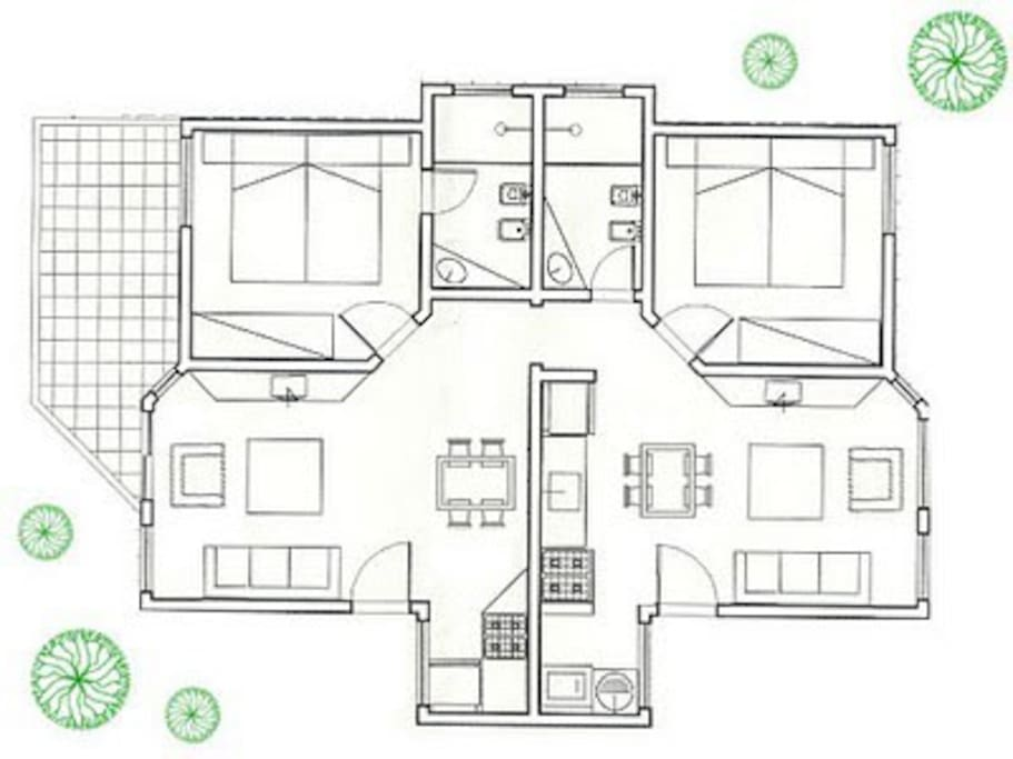 planta apartamento duplex  para máx. 10 pessoas