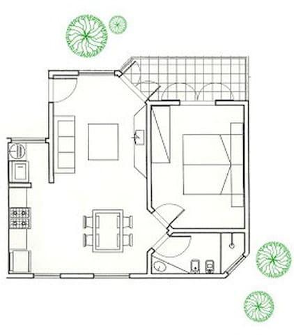 planta apartamento para máx. 5 pessoas