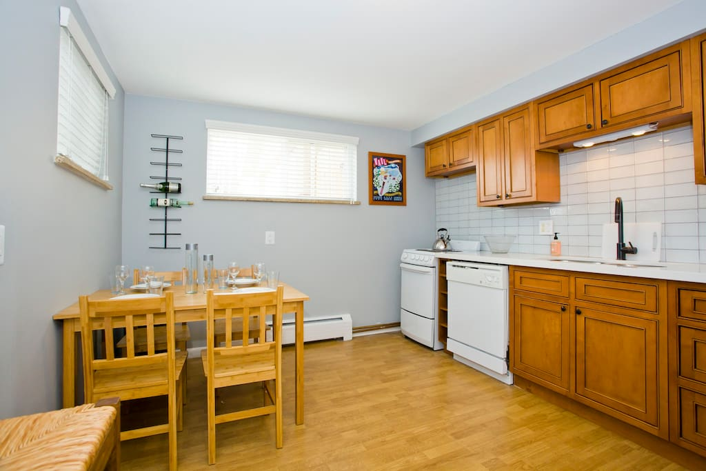 Eat in kitchen with stove, fridge and dishwasher.
