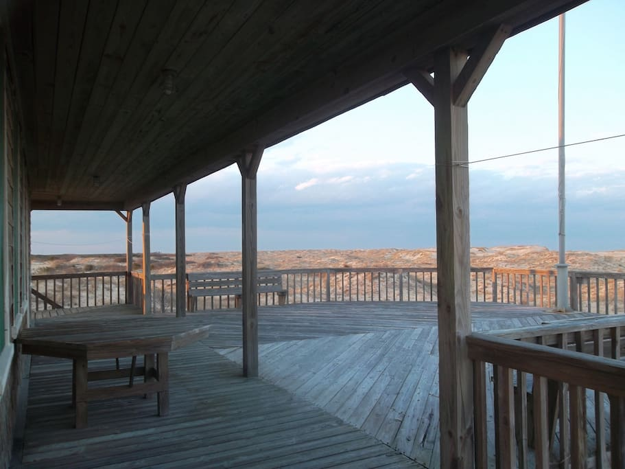 View of front deck, looking north.