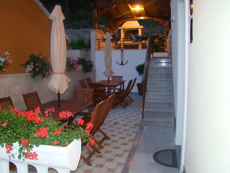 in front of house, for guests using