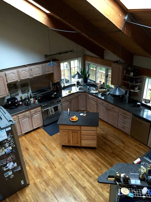 View of the kitchen from the loft!  The loft has a pool table.